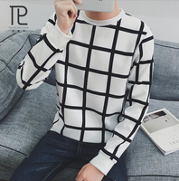 New Autumn Fashion Brand Casual Sweater O Neck Plaid Slim Fit Knitting Mens Sweaters And Pullovers