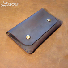 Gathersun Brand andmade Top Grade Real First Layer Cowhide Crazy Horse Leather Long Wallets Men's Genuine Leather Clutch bags