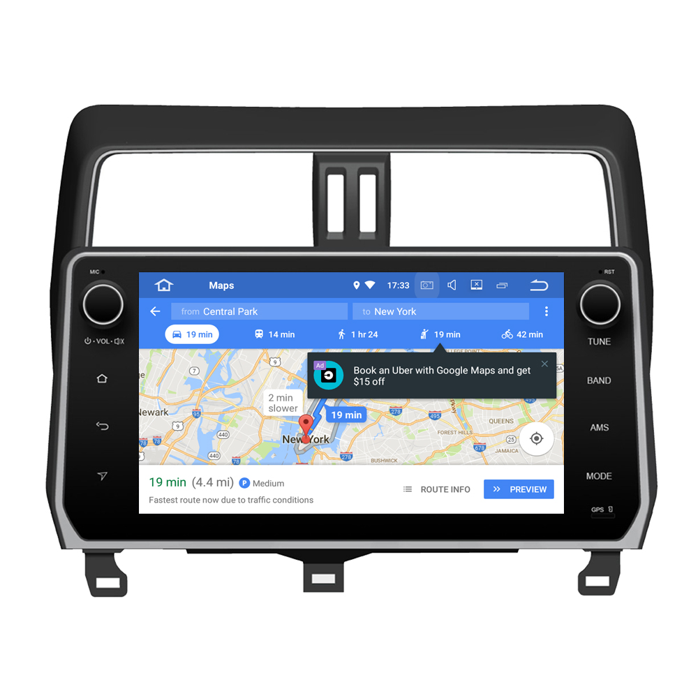 RoverOne Android 8.0 Car Multimedia System For <font><b>Toyota</b></font> Prado <font><b>150</b></font> <font><b>2018</b></font> <font><b>Radio</b></font> Stereo GPS Navigation Android Media Player PhoneLink image