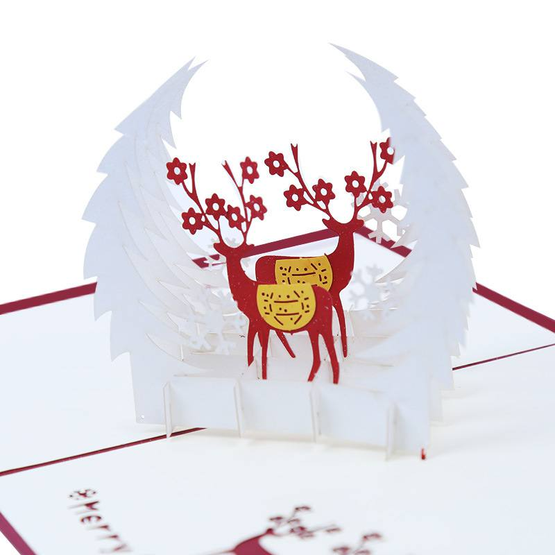 aliexpresscom buy deer christmas thanksgiving folding greeting christmas card 3d pop up holiday greeting cards from reliable cards invitations - Deer Christmas Cards