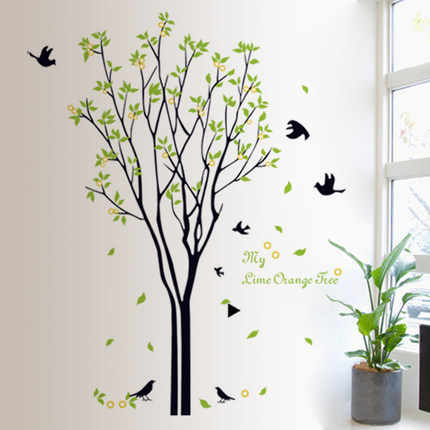 120*100 cm Large Green tree birds wall Decals for Living Room Bedroom 9094 TV Wall Stickers Murals for kids rooms