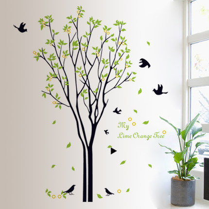 120*100 cm grand arbre vert oiseaux Stickers muraux pour salon chambre 9094 TV Stickers muraux peintures murales pour chambres d'enfants