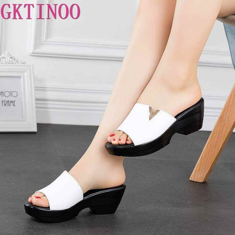 GKTINOO 2019 Summer women slippers genuine leather Thick Soled flip flops shoes Women Wedges Slippers black white slides sandals