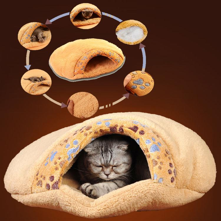 Warm Cat/Dog Kitten Cave Pet Bed House Puppy Sleeping Mat Pad Igloo Nest Brown