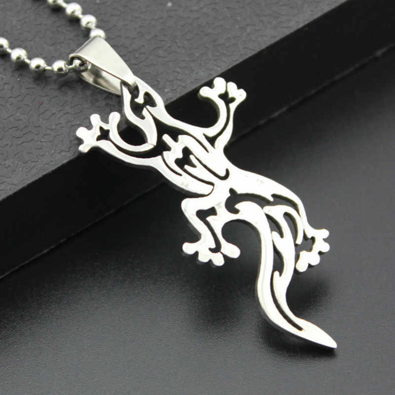 Winter Style Gecko Pendant Stainless Steel Necklaces Long Chain Lizard News Choker Fashion Jewelry for Women Men Accessories