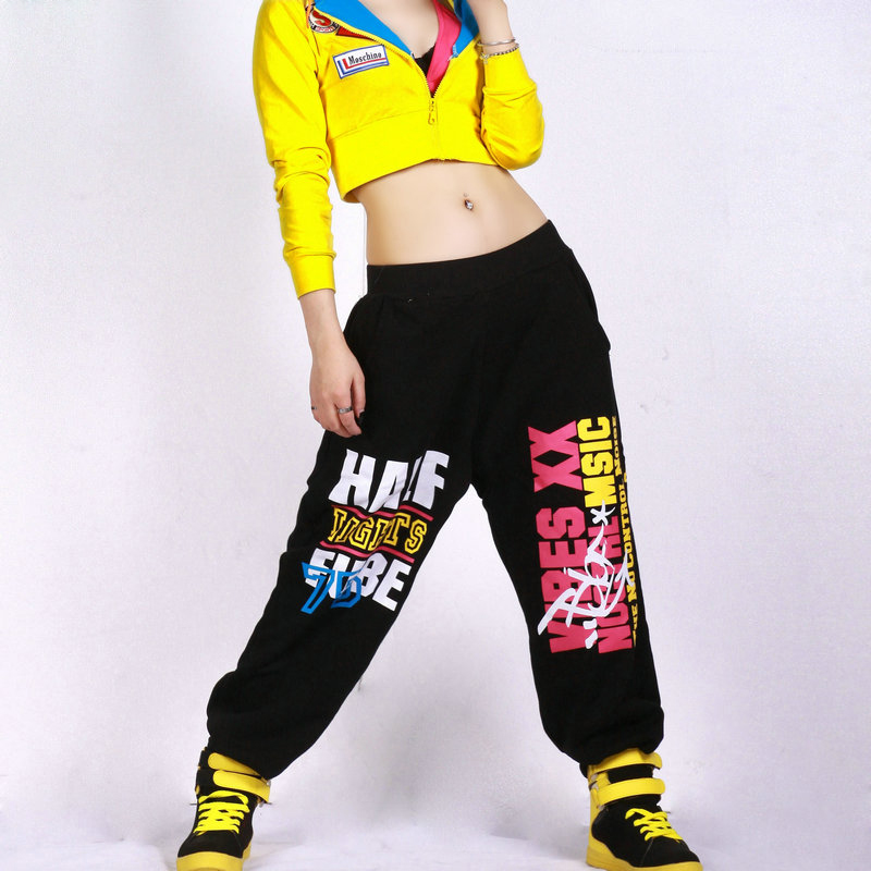 New Fashion Autumn Harem Hip Hop Dance Pants Women Sweatpants Costumes Letter Female Trouser Sizes From Kids To Adult