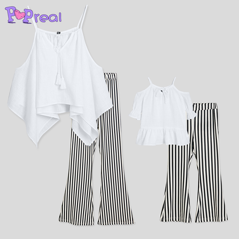 PopReal Contrast Stripes Cold Shoulder Matching Outfits Stripes mommy and me clothes off shoulder baby girl clothes t shirt pant ...