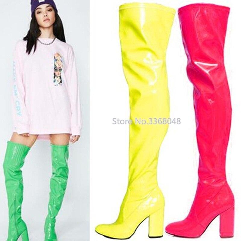 Nouveau miroir couleur bonbon cuisse haute femme rouge vert jaune Chunky chaussures à talons hauts Sexy discothèque robe chaussures grande taille 43