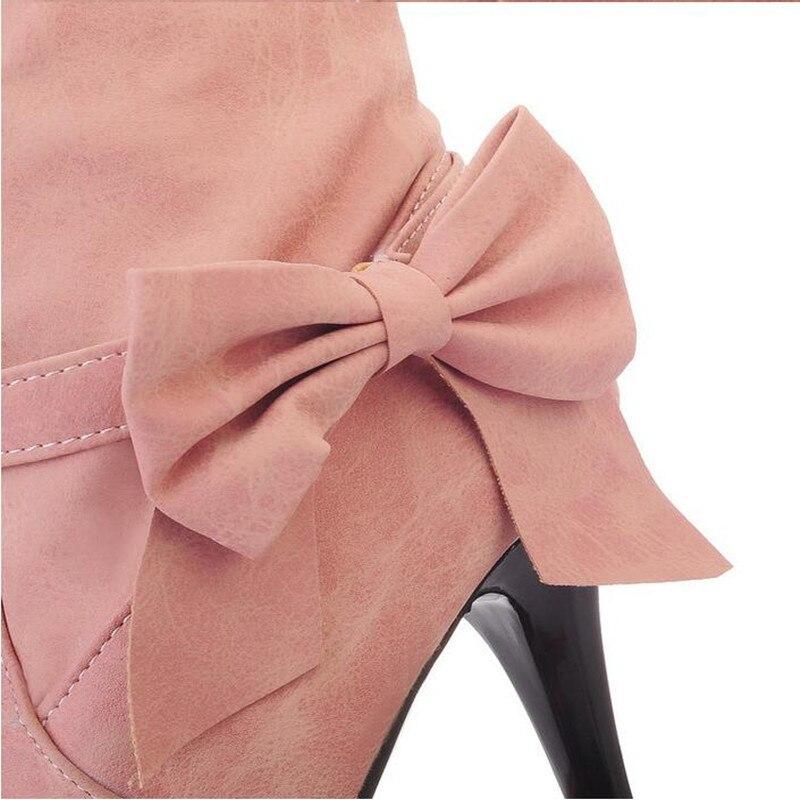 Ciel Bleu Femmes rose D'hiver pu Plus 34 Mode Chevalier Bowtie Beige Bottes Maziao Rose Haute 45 Mignon Qualité Doux Plissée Beige Taille vBOnwqR