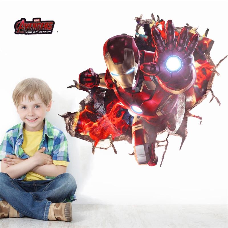 3d Effect Iron Man Hero Through Wall Stickers For Kids Rooms Nursery Wall Art Decals Decor The Avengers Wallpaper Diy Poster