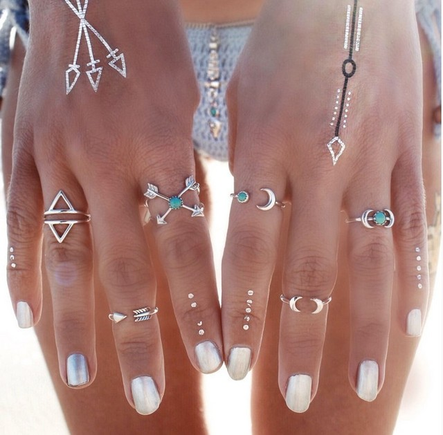 6 PC Vintage Turkish Beach Moon Arrow Ring Set