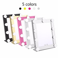 Vanity Tabletops Lighted Makeup Mirror With 9 LED Bulb Lights Dimmer Beauty Mirror Portable Touch Screen Mirror US Plug new