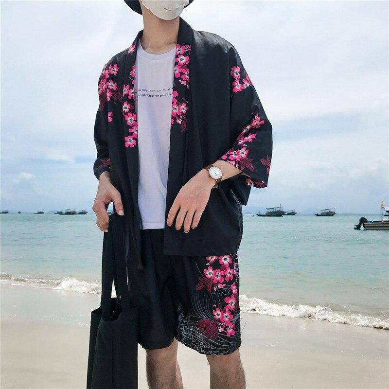 中国の伝統的なプリントオープンステッチメンズジャケット3クォータースリーブ着物ジャケット男性ブラックホワイト休暇