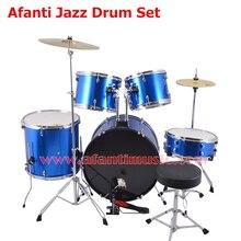 5 Drums 2 Crash Cymbals Blue color Afanti Music Jazz Drum Set Drum kit AJDS 427