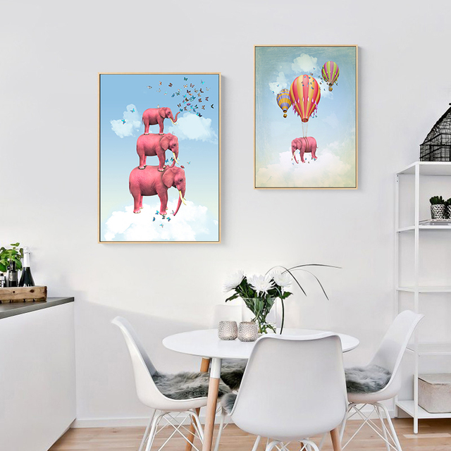 Surrealism Animal Elephant Hot Air Balloon Posters  1