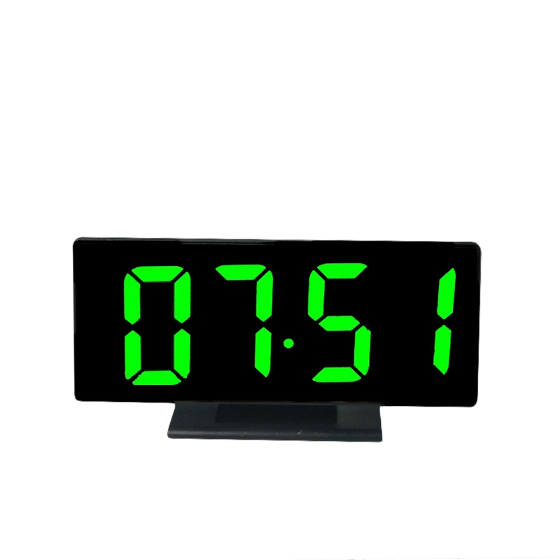 Digital LED Mirror Alarm Clock Multifunction Snooze Display Time Night LCD Light Table Desktop USB Cable Clock