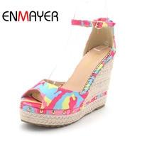 ENMAYER Chaussures Femmes Shoes Supper High Heels Peep Toe Ankle Strap Summer Sandals Pumps Size 39 Party Shoe Women