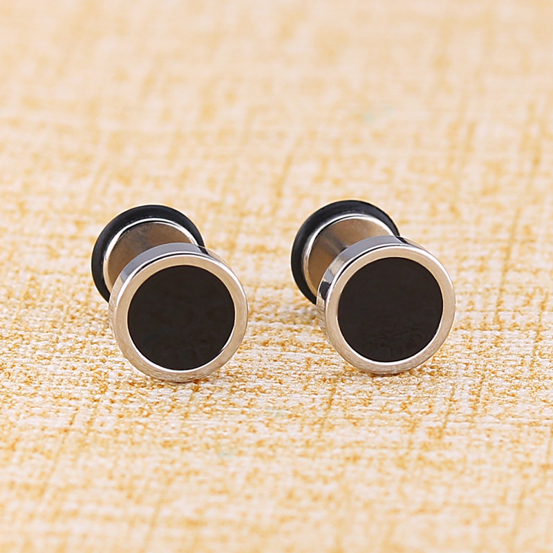 KPOP DNA Korean V 8 <font><b>12</b></font> <font><b>mm</b></font> male black earrings silver color men small stainless steel stud jewelry titanium punk earing brincos image