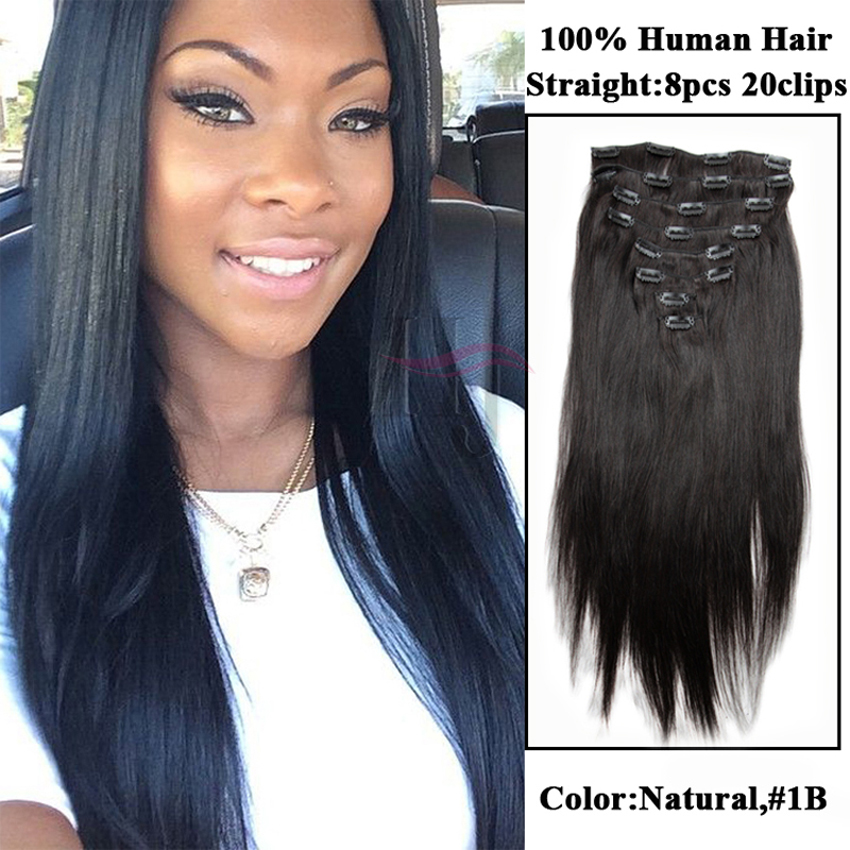 Natural Color Straight Clip In Brazilian Human Virgin Hair African American Extensions For Black Women C207 On Aliexpress