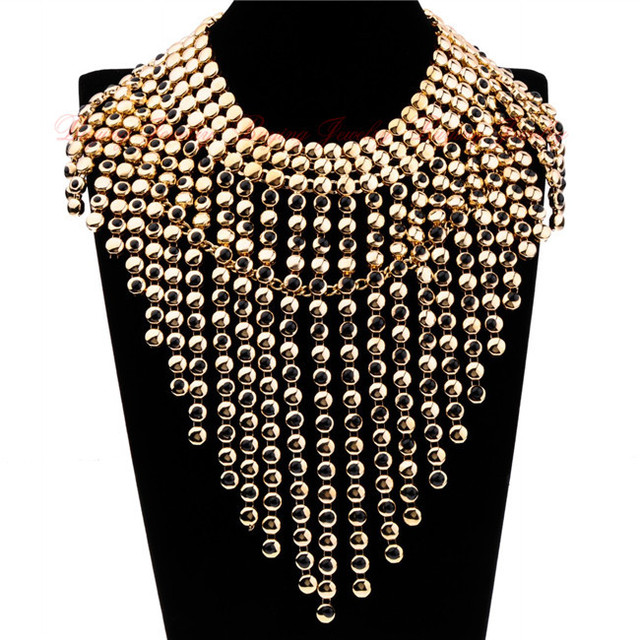 Surper Exagerada Partido de Las Mujeres Accesorios de Moda Oro Plata Burbuja Aleación Cadenas Borlas Colgantes Collares Declaración de La Vendimia