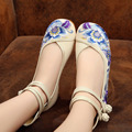 Vintage Flast Shoes Women Summer Dance Embroidery Shoes Old Beijing Red Blue Beige Cloth Shoes Platform Canvas Casual Flats