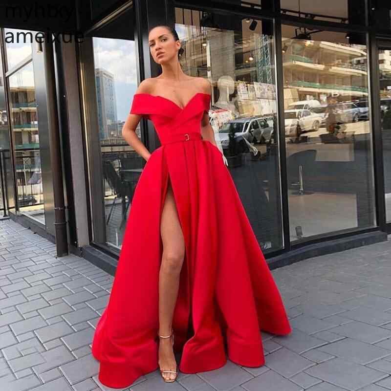 מותאם אישית כתף סקסי 2019 חדש שמלות נשף עם כיסים אדום Vestidos דה פורמליות נשים המפלגה מול פיצול סאטן שמלות בתוספת גודל