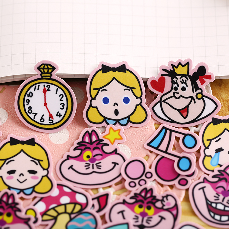 40pcs Cute Kawaii  Alice Stickers Decal For Phone Car Case Waterproof Laptop Album Diary Backpack Kids Toy Stickers Waterproof