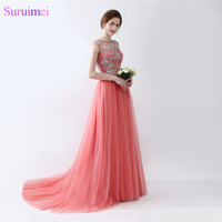 Cap Sleeve Beaded Prom Dresses With Short Sleeves Top Illusion See Through Red Coral Prom Dresses Formal Prom Gown Women