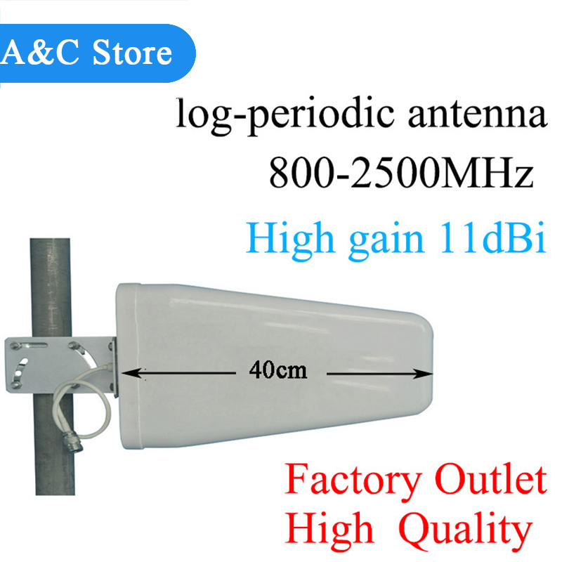D'antenne rondin-périodique 11dBi 800 ~ 2500 mhz pour CDMA/GSM DCS WCDMA 2G 3G 4GLTE de propulseur de signal de téléphone portable/répéteur/amplificateur n-femelle