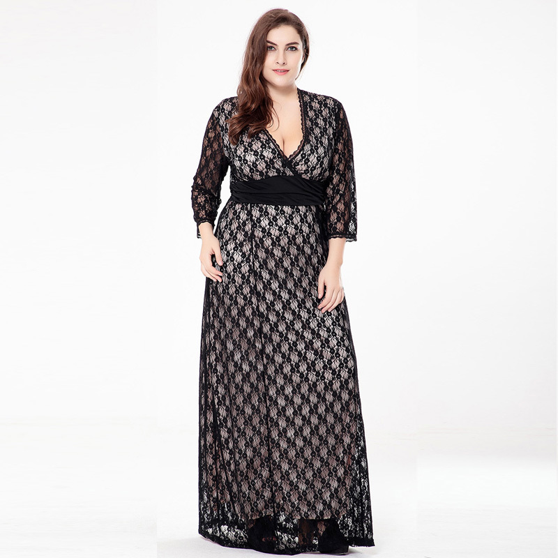Yocalor Sexy Women Dress Plus Size 6l Long Black Lace Dress Casual