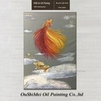 オリジナル手描き博物館品質金魚油絵現実的な絵画絵壁動物魚油絵