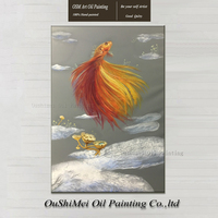 Original Hand Painted Museum Quality Goldfish Oil Painting on Canvas Realistic Painting Picture Wall Animals Fish Oil Paintings