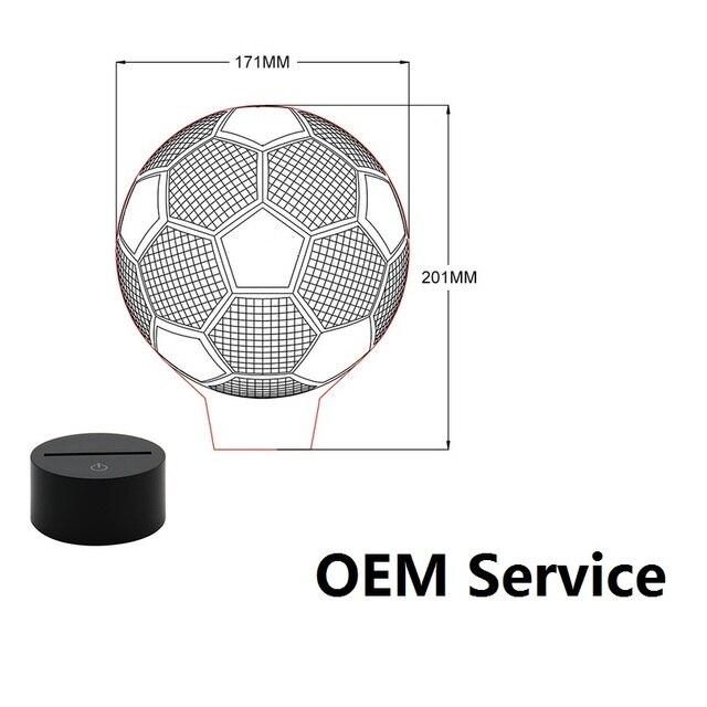 Fußball 3D LED Lampe OEM ODM Anpassen Nachttischlampe Fußball Drop  Verschiffen Mit Alle Formen Clubs 7