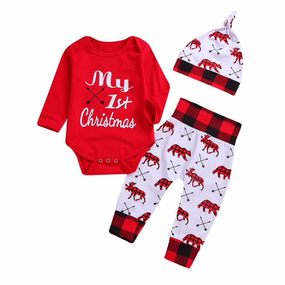 Cute Newborn Baby Boy Girls Christmas Fashion Clothes My First Christmas  Letter Print Onesie + Printed Pants + Hat Baby 3Pcs Set