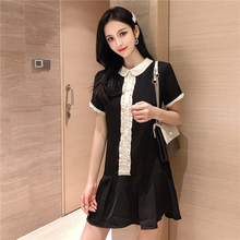New Kawaii Turn-down Collar Vintage Dress Casual Hit Color Ruffle Buttons Women Summer Dress Fashion Black Elegant Dresses Woman