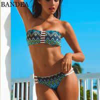 Bikini brésilien BANDEA 2019 maillot de bain imprimé femmes sans bretelles biquini Bandeau Bikini ensemble Sexy réversible rembourré soutien-gorge maillots de bain