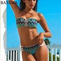 Женское бикини с принтом BANDEA, Бразильское бикини без бретелек, комплект бикини бандо, сексуальный двусторонний бюстгальтер с подкладкой, ку...