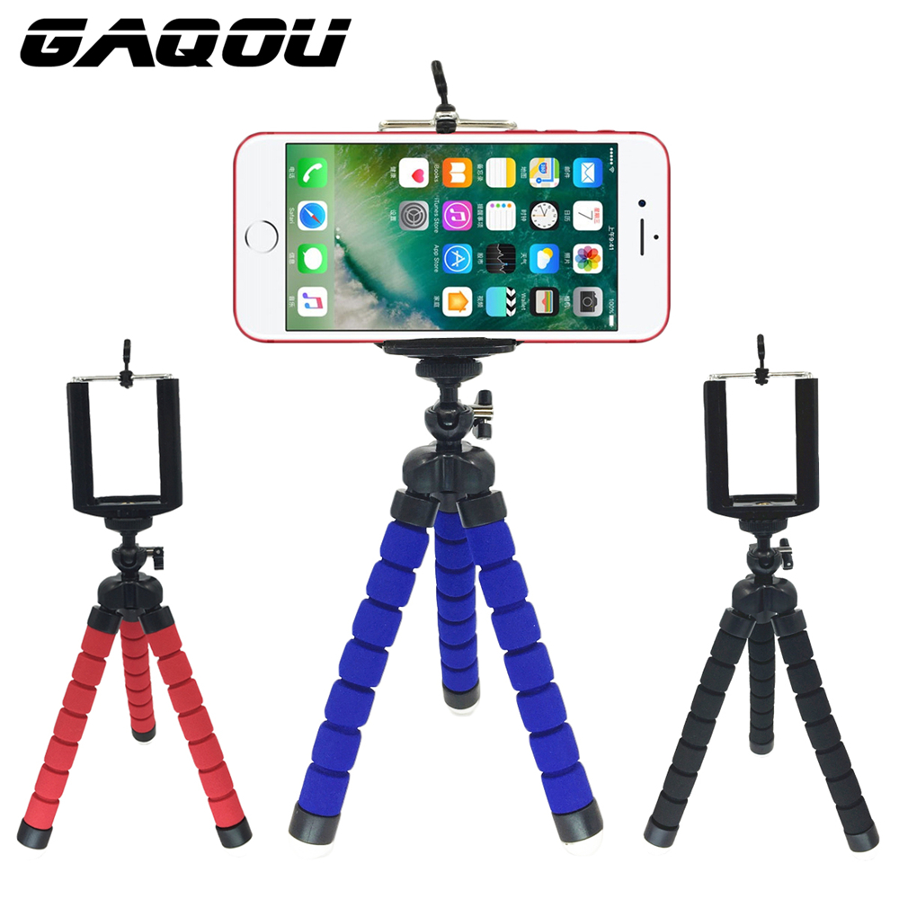 GAQOU Tripod + Clip Stand Mini Flexible For Camera Mobile Phone Holder Stand Flexible Octopus Sponge Tripod Bracket Stand Holder candy color calabash shaped cosmetic makeup cotton pads sponge puff pink