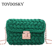 TOYOOSKY New Fashion Hot INS Woven Knitting Handbag Women Flaps Messenger Bag Cotton Fabric Handmade Plait Cover Shoulder