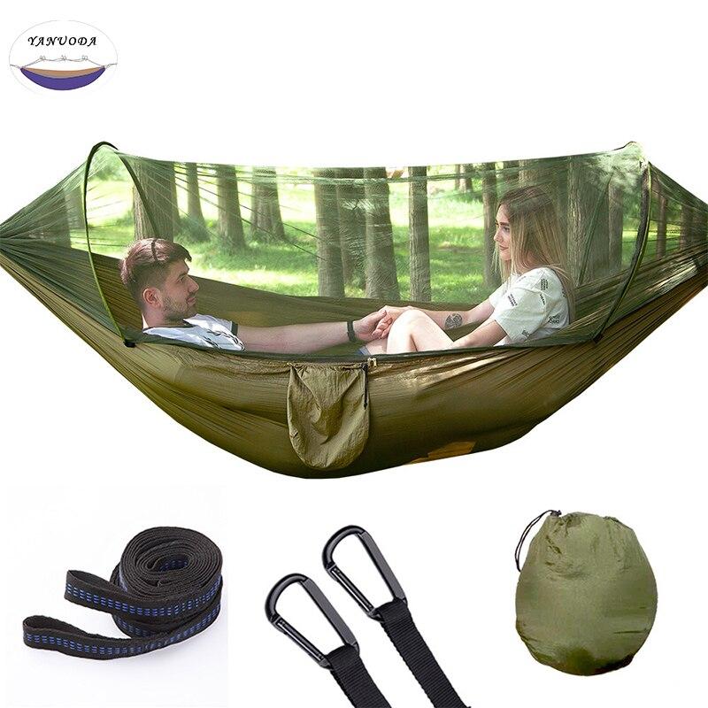 Double personnes vitesse automatique ouverte avec moustiquaire hamac meubles d'extérieur en Nylon Parachute tissu Camping moustique hamac