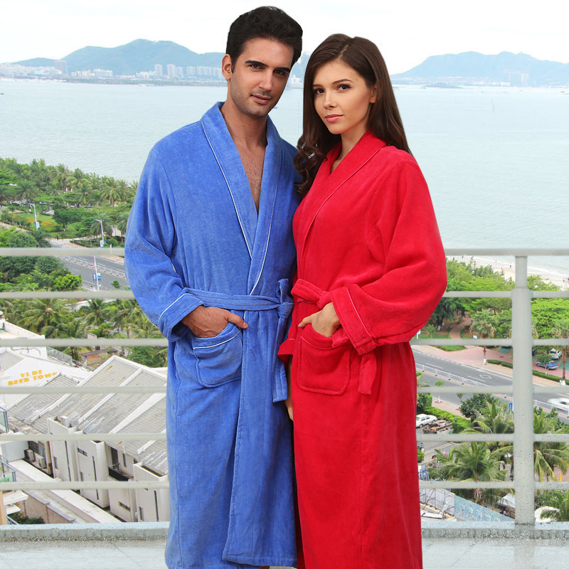 2015Winter hotsell pure cotton velour velvet bathrobes robe Unisex long sleeve bathrobes thicken plus size home