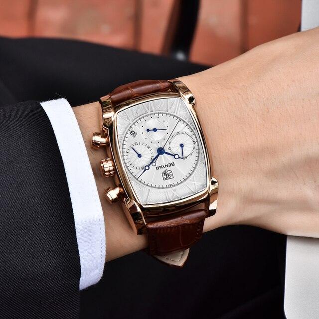 BENYAR スポーツミリタリーメンズ腕時計 2019 トップの高級ブランド男クロノグラフ石英腕時計革軍男性時計レロジオ Masculino