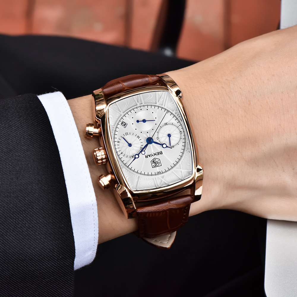 Мужские часы BENYAR, спортивные, армейские, кварцевые, с кожаным ремешком|Кварцевые часы|   | АлиЭкспресс
