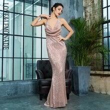 Love Lemonade Sexy V-Neck Open Elastic Sequins Long Dress LM81462ROSEGOLD 0cd33fdbcbdc