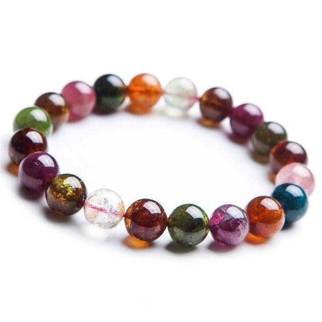 11mm Natural Mix Colors Tourmaline Quartz Bracelets For Women Femme Stretch Transparent Crystal Round Bead Bracelet