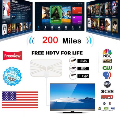 1080P 4K Antenna Digital HD TV Amplified Mile 200 Miles Range Indoor Ultra-thin