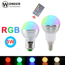 RGB LED Bulb E27 E14 3W LED Lamp Light Led Spotlight Spot light Bulb 16 Color Change Dimmable +24Keys Remote Controller
