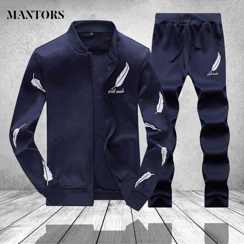 Повседневный Набор мужского спортивного костюма, весенне-осенние мужские комплекты из двух предметов, модные куртки на молнии + штаны спортивный костюм, мужской тренировочный костюм, Mannen