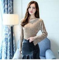 2017 Women Elegant Pearls Beading Flare Sleeve Shirt O Neck Blouse Long Sleeve Autumn Winter Brand