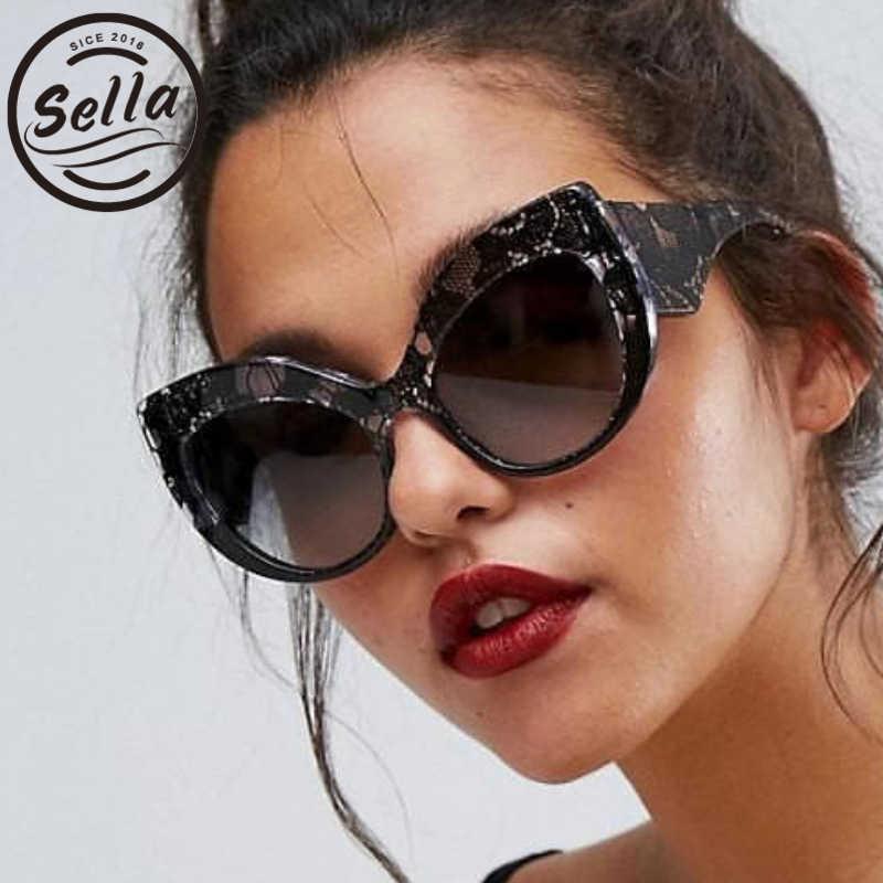 b82ddfcde079 Sella Hot Sale European New Style Fashion Women Oversized Cateye Sunglasses  Brand Designer Snake Skin Sun